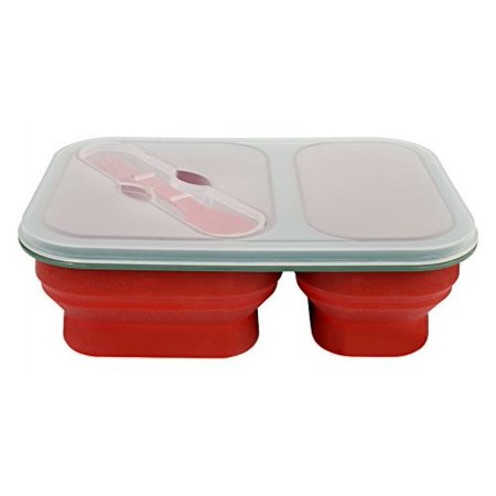 Useful   UH-LB157 Set of 2 Reusable Silicone Collapsible Double Compartment  Lunch Container Bento Box