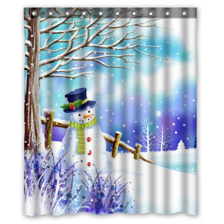 YKCG Christmas Snowman Under Tree Winter Snow Scene Shower Curtain Waterproof Fabric Bathroom 60x72 Inches