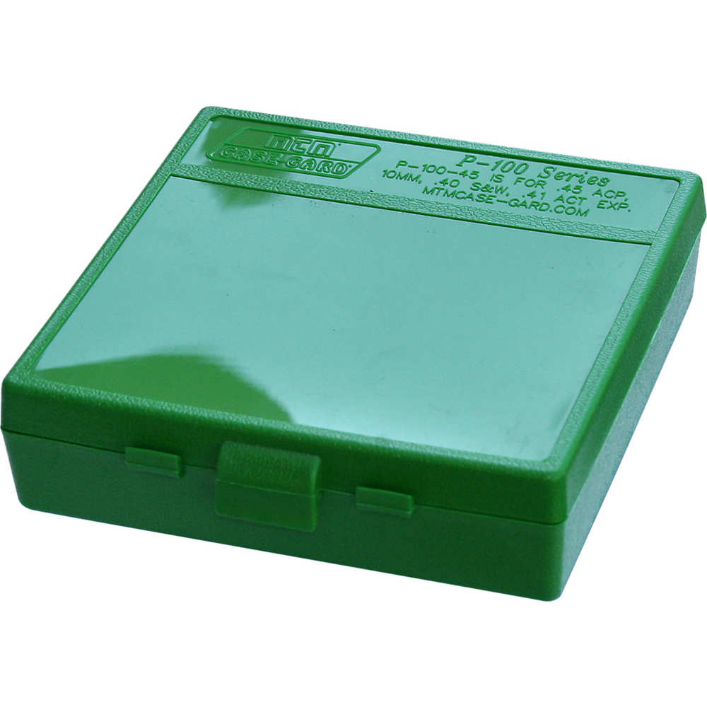 "MTM P1004510 P-100 Flip-Top Pistol Ammo Box, 1.3"", OAL, Green Poly"