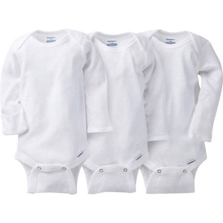 Onesies Brand Gerber Newborn Baby Unisex White Long Sleeve Bodysuit, 3-Pack - Cheap Plus Size Onesies