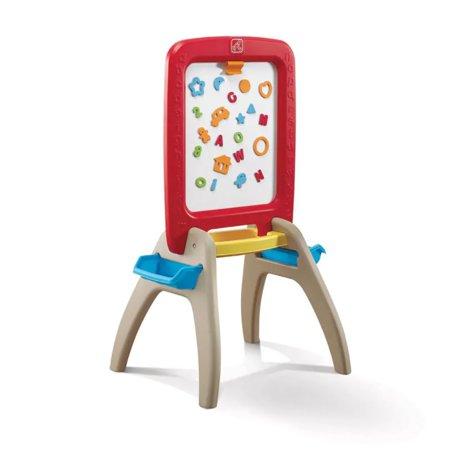 Step2 All Around Easel for Two, Red Chalk Dry Erase board 94pc set (Kids Chalk Board)
