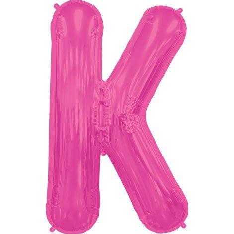 Letter K - Magenta Helium Foil Balloon - 34 inch