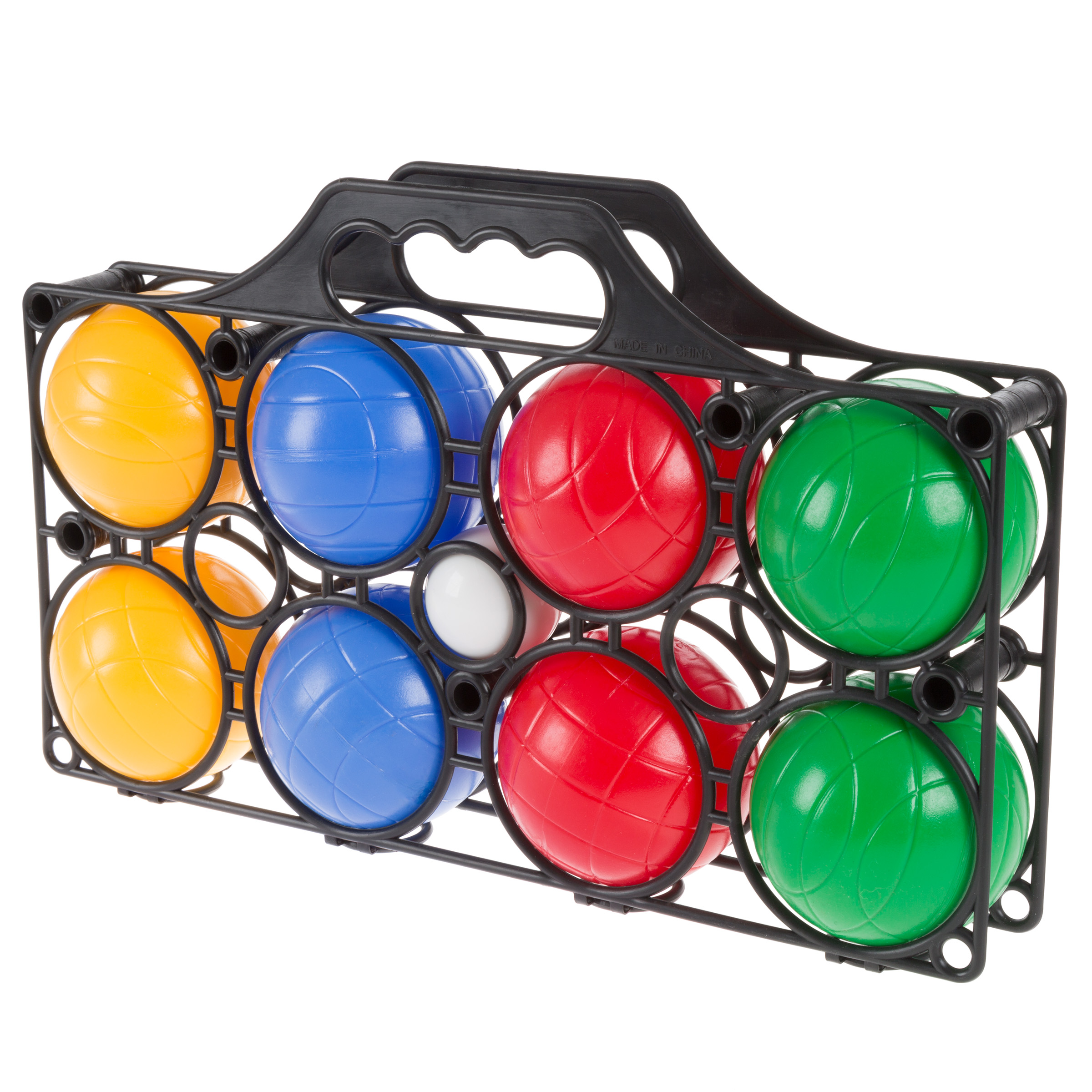 Beginner Bocce Ball Set with 8 Colorful Bocce Balls, Pallino and Carrying Case- Classic Outdoor Game for Kids, Adults and Family By Hey! Play!
