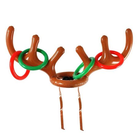 Flying Outlets Toss Inflatable Reindeer Antler Hat with Rings PVC Christmas Holiday Party Family Kids Office Games