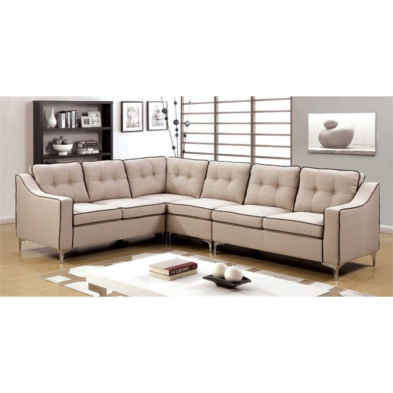 Furniture of America Pelham Left Facing Sectional in Beige