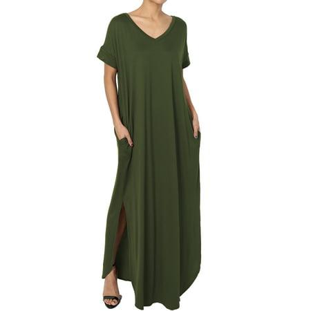 TheMogan Women's Viscose Jersey V-Neck Short Sleeve Relaxed T-Shirt Slit Maxi Dress