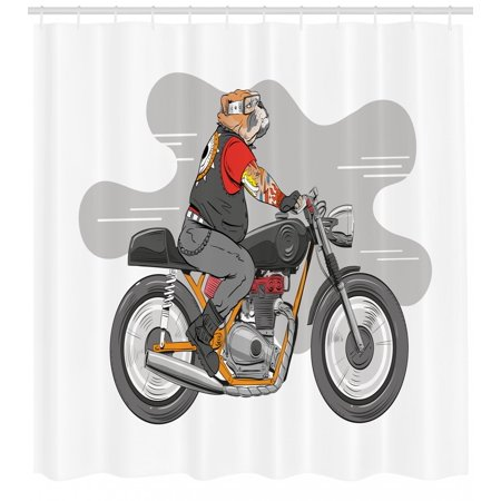 Motorcycle Shower Curtain English Bulldog With Tattoos Cruising On A Bike Hand Drawn Colorful Character
