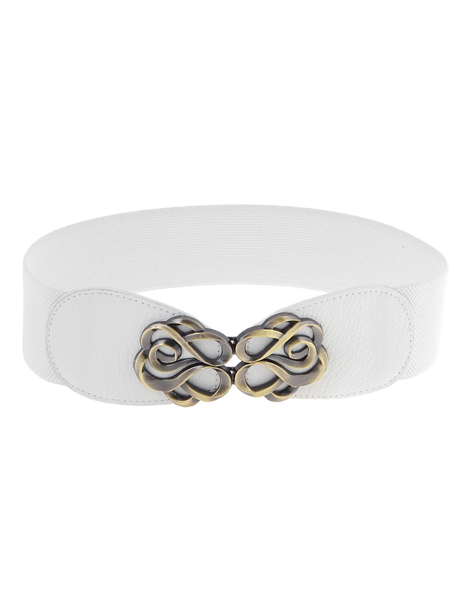 Woman Bronze Tone Flower Interlock Buckle Style Textured Elastic Cinch Belt