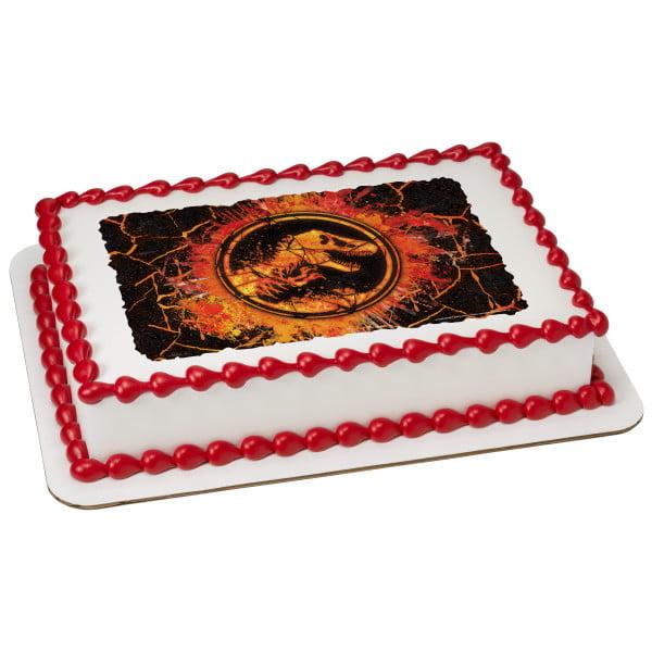 "Jurassic World 2 Molten 2"" Round Cupcake Sheet Image Cake Topper Edible Birthday Party"