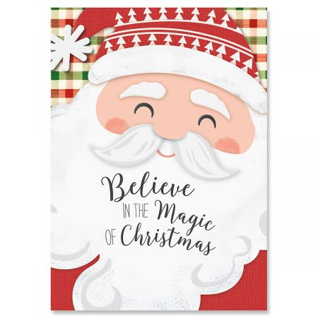 Santa Plaid Christmas Greeting Cards- Set of 18 Holiday Greeting Cards