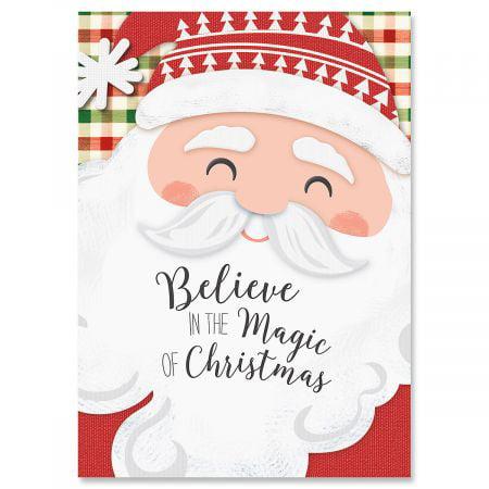 Santa Plaid Christmas Greeting Cards- Set of 18 Holiday Greeting Cards