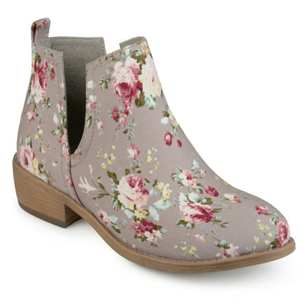 - Brinley Co. Women's Floral Fabric Round Toe Stacked Heel Side Slit Booties