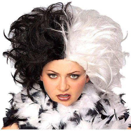 Cruella De Vil Deville Ms Spot 101 Dalmations Women's 2- Tone Costume Wig for $<!---->