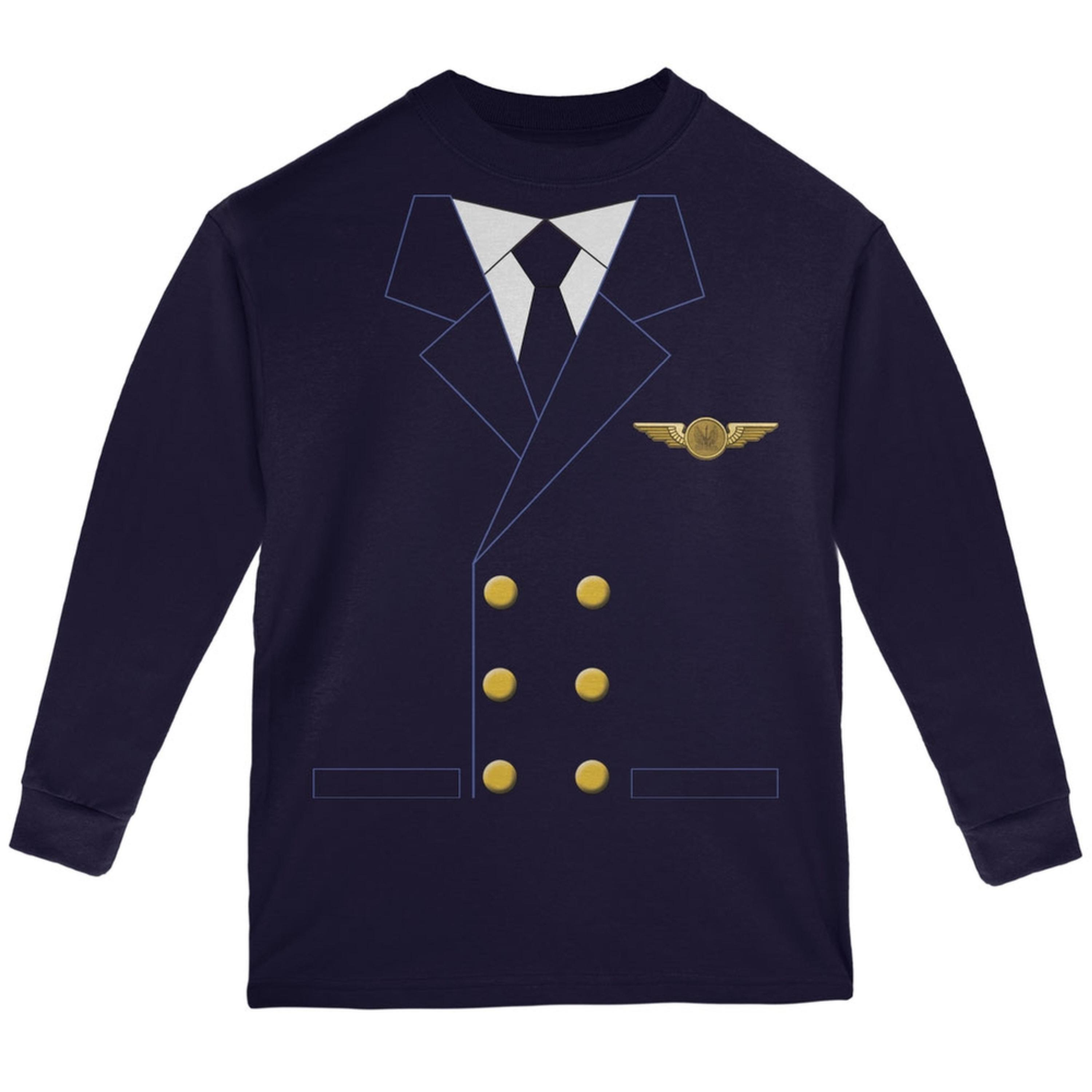 Halloween Airline Airplane Pilot Navy Youth Long Sleeve T-Shirt