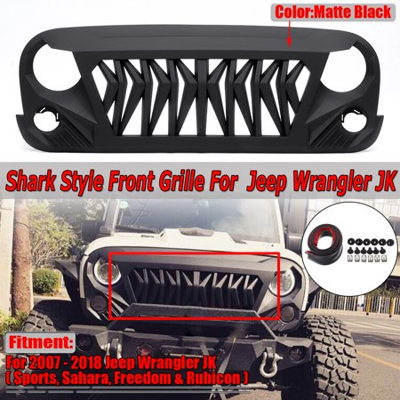 For 2007-2018 Jeep Wrangler JK JKU Shark Grille Matt Black ABS Unlimited Rubicon(Instruction Not (2013 Wrangler Rubicon 10th Anniversary For Sale)