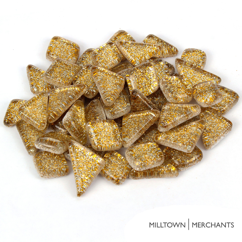 Milltown Merchants Glitter Mosaic Tile Pieces - Bulk Sparkle Mosaic Tiles - Shimmer Tile Assortment For Backsplash, Murals, Stepping Stones, and Mosaics
