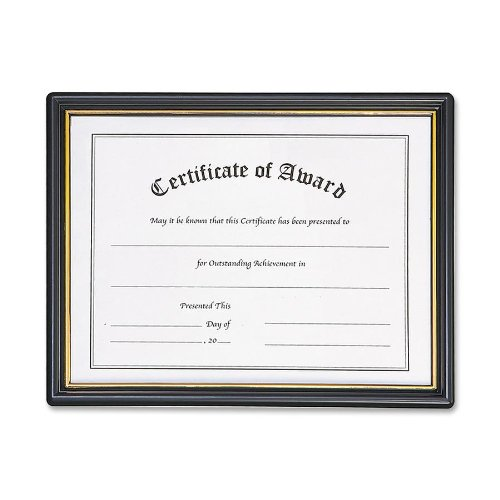 """Nu-dell Certificate Of Achievement Frame - 11"""" X 8.50"""" Insert - Wall Mountable - Horizontal - Plastic - Black, Gold (NUD19210)"""