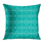 ECCOT Blue Announcement Line Pattern Teal Green Baby Birthday Bold Bright Cutting Pillow Case Pillow Cover 16x16 inch