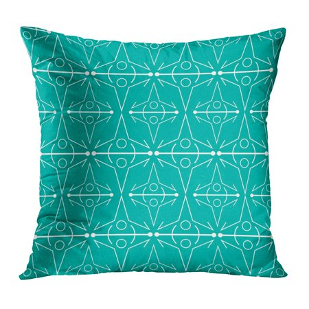 ECCOT Blue Announcement Line Pattern Teal Green Baby Birthday Bold Bright Cutting Pillow Case Pillow Cover 18x18 - Baby Pine Green