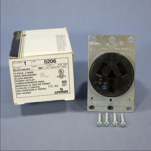 Leviton 800 05206 000 Range Receptacle 50 Amp 125 250v Flush Mount