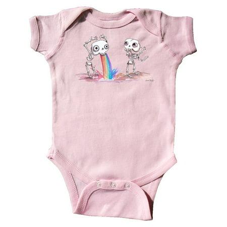Skeleton Pukes Rainbow Infant Creeper - Skeleton Onesie Australia
