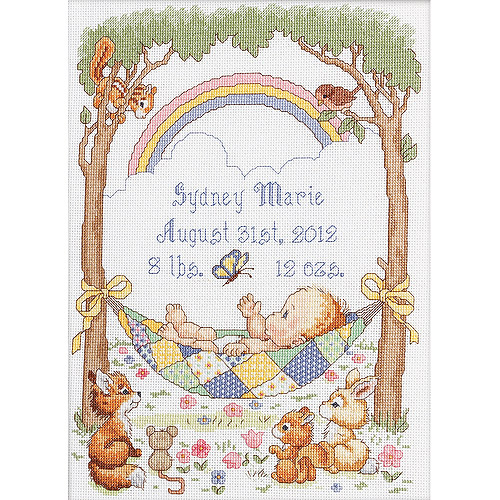 """Our Little Blessing Birth Record Counted Cross Stitch Kit, 10"""" x 13-1/2"""", 14-count"""
