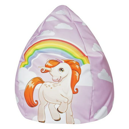 Lifestyle Collection Bean Bag - Gouchee Home Unicorn Collection Contemporary Polyester Upholstered Plush Bean Bag Chair, Unicorn Design