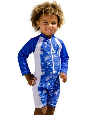 Sun Emporium Boys Navy White Aloha Print Long Sleeve Sun Suit 8