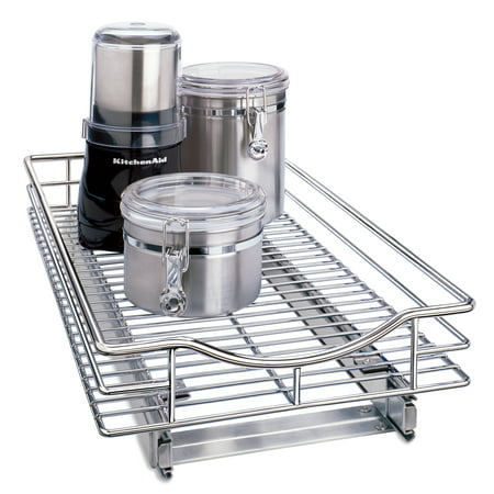 Lynk Professional® Slide Out Cabinet Organizer - Pull Out Under Cabinet Sliding Shelf - 11 inch wide x 21 inch deep - Chrome - Multiple Sizes Available
