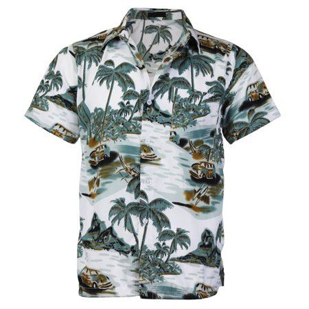 Men's Hawaiian Tropical Luau Aloha Beach Party Button Up Casual Dress Shirt (Agate Green,S) - Tropical Shirts