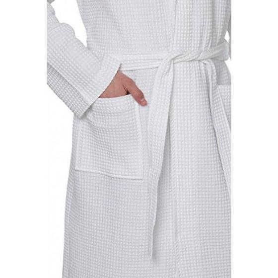 STAR Lightweight Unisex Waffle Weave Spa Robe Bathrobe 100% Cotton ... 452210bc9
