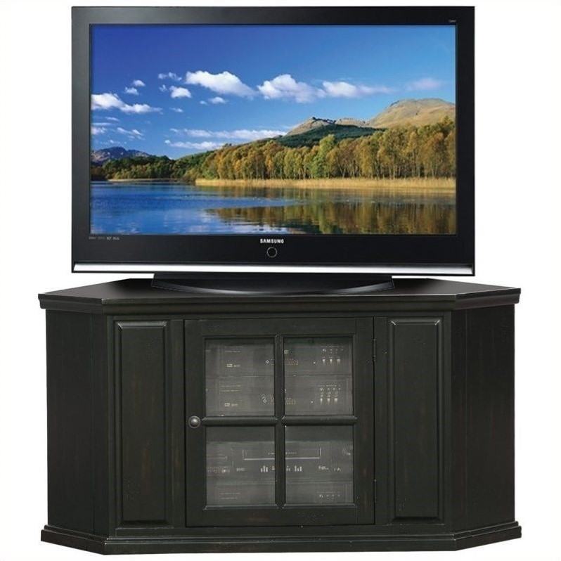 "Leick Furniture 47"" Corner TV Stand in Rubbed Black"