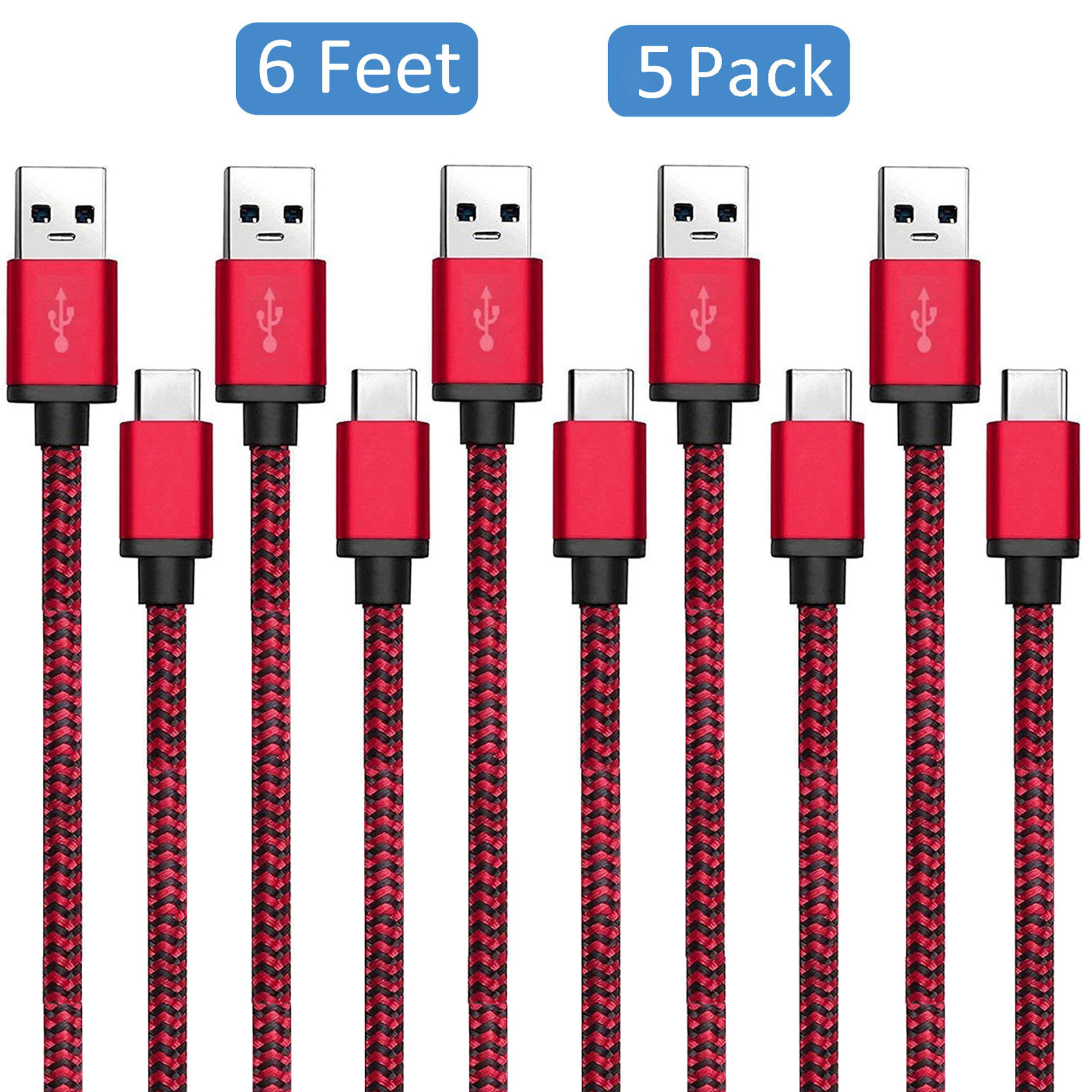 5-pack 6ft USB 3.1 Type C Charging Sync Data Cable Charger Cord for Samsung Galaxy S9 S8 S8 Plus Note 9/8,LG G7 G6 G5 V40 V30, Nexus 5X 6P,Google Pixel 3/3 XL, Oneplus 6T/6/5