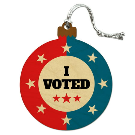 I Voted Red White Blue Patriotic Wood Christmas Tree Holiday Ornament (Patriotic Christmas Ornaments)