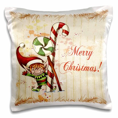 3dRose Cute Christmas Elf With Peppermint and Candy Cane Merry Christmas Xmas Holiday Greeting - Pillow Case, 16 by 16-inch](Candy Cane Elf)