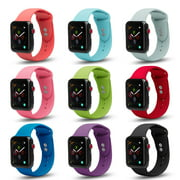 Apple Watch Soft Silicone Replacement Bands 40mm/38mm, Dual Locking Stud Wristband for iWatch Apple Watch Series 1/2/3/4/Nike+ - Black