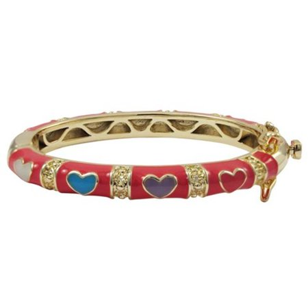 Hot Pink Enamel with Multi Color Hearts Gold Plated Brass Bangle