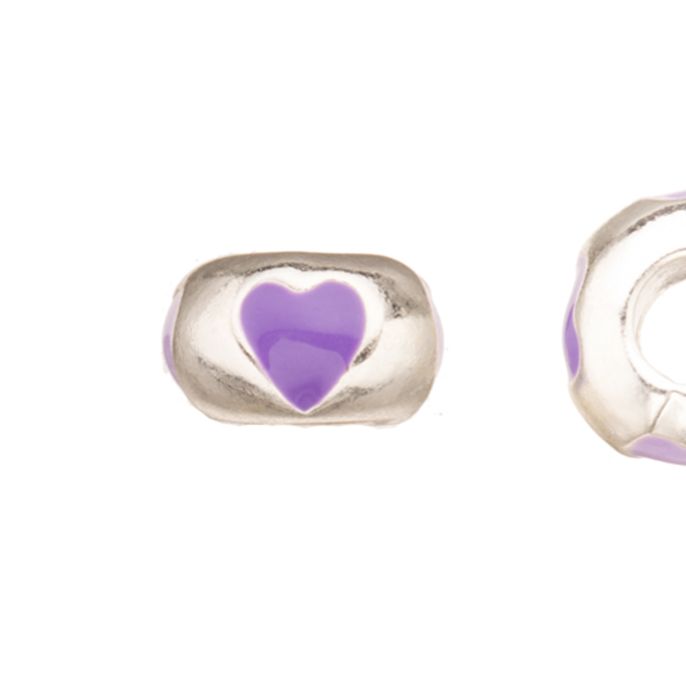 Enamel Large Hole Beads, Purple Four Heart Silver Plated 10x5.5mm 3pcs/pack (3-pack Value Bundle), SAVE $2