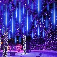 LHCER 30cm/50cm Falling Rain Light,Waterproof SMD2835 LED String Lights 8 Tube Meteor Shower Light String Lights Drop Icicle Light Christmas Holiday Outdoor Decor Tree Decoration
