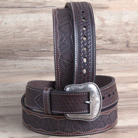 Roper Western 1 5  Elephant Print Basketweave Ends Mens Cowboy Belt Brown
