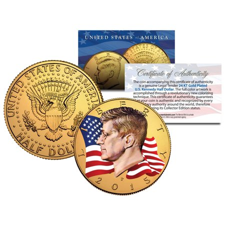 Colorized * FLOWING FLAG * 2015 JFK Kennedy Half Dollar Coin 24K GOLD PLATED (P) ()