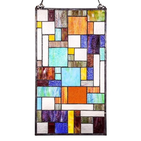 Details about Abstract Java Stained Glass Window Panel by River of Goods | 23 inches](Stained Glass Clearance)