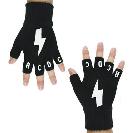 Logo Mittens (AC/DC - Lightning Logo Fingerless Gloves )