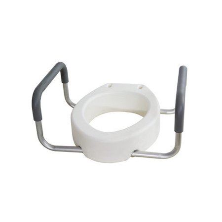 Toilet Seat Riser With Arms For Elongated Size Bowl