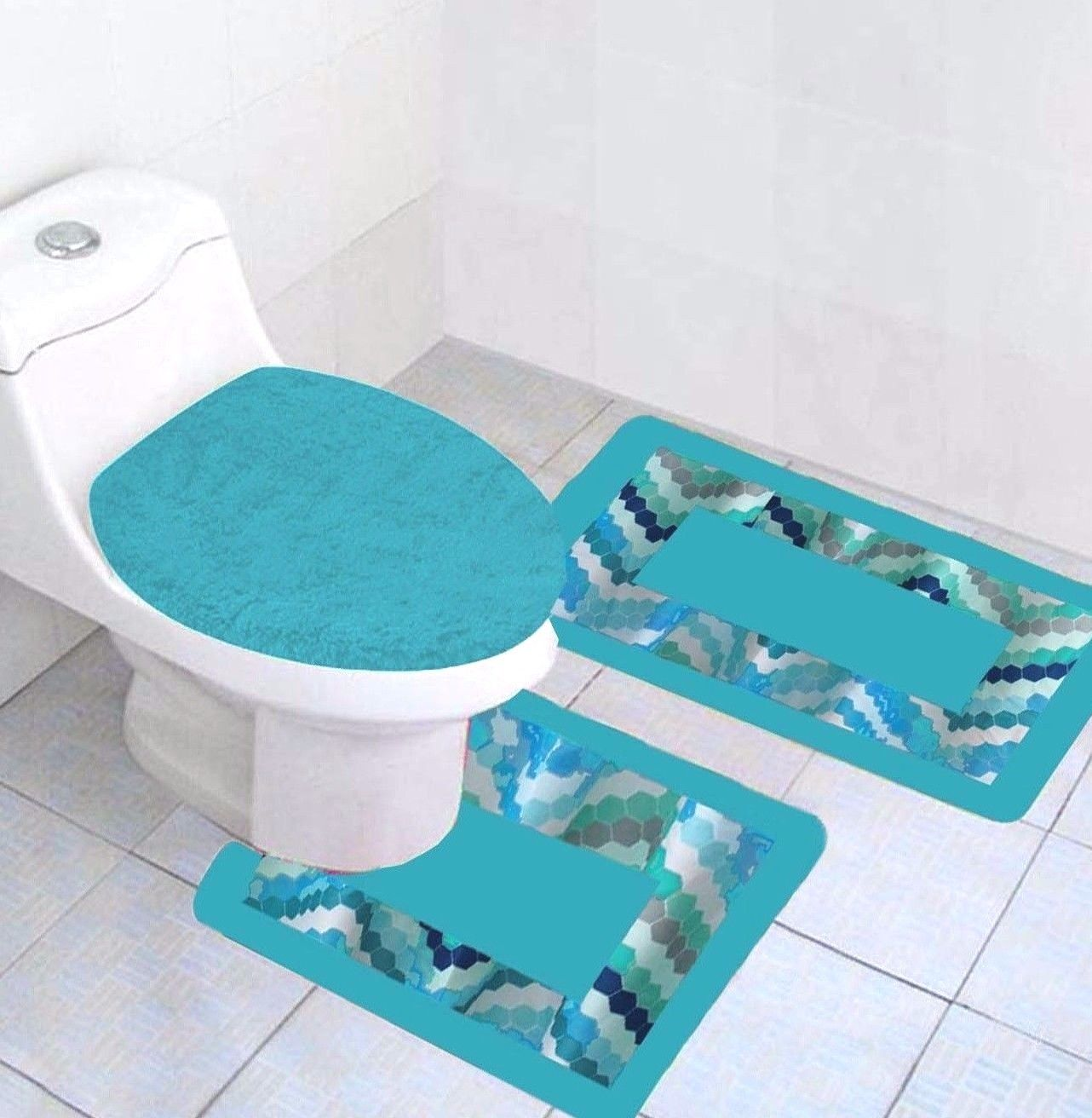 3 Pc Blue Waves Printed Bathroom Rug Set Geometric Pattern