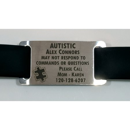 Autism Autistic Aspergers Bracelet with Silver Tag - Free Dark Laser Engraving Custom Personalization