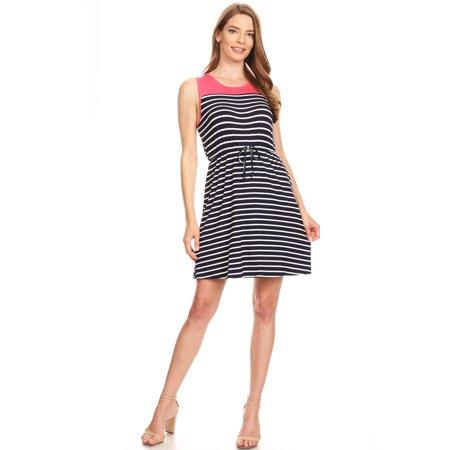 1GCD02 Women's Striped Dress Knee High Sun Dress Beach Cover up Stretch Tank Top ()