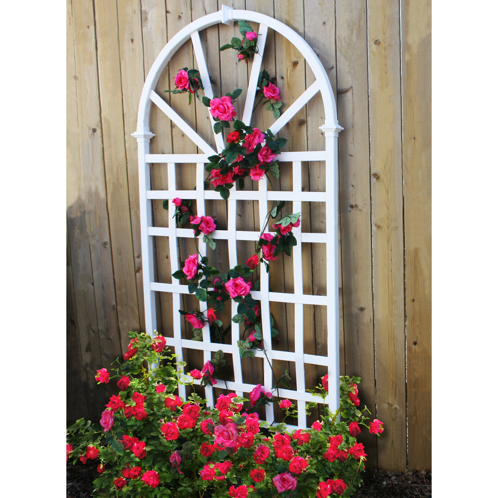 New England Arbors White Vinyl Athens Arch Trellis by New England Arbors