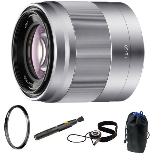 Sony SEL50F18 50mm f/1.8 OSS Lens (Silver) + Lens Pouch + Accessory Bundle