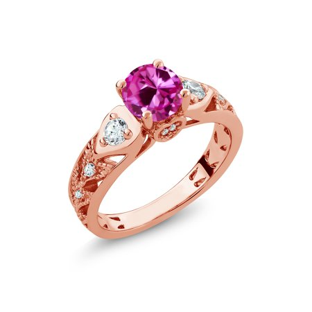 - 2.26 Ct Round Pink Created Sapphire 18K Rose Gold Plated Silver Ring